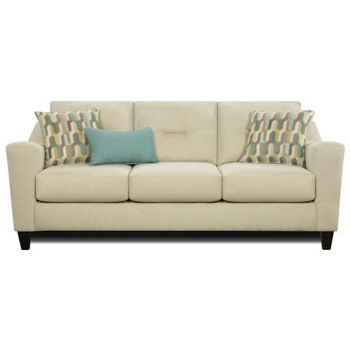 Fusion Furniture 8100 Contemporary 3 Cushion Sofa with Kidney Pillow