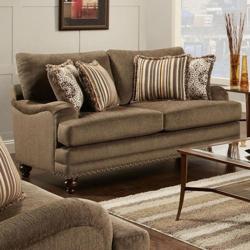 Fusion Furniture Champ Walnut Traditional Two Cushion Loveseat