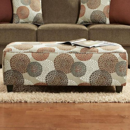 Fusion Furniture Cornell Cocoa Contemporary Ottoman