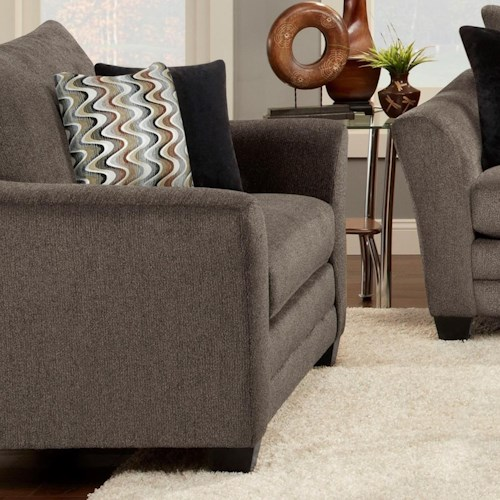 Fusion Furniture 9700 Contemporary Upholstered Chair and a Half with Flared Arms