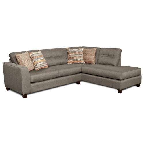 Fusion Furniture Fandango Mocha Contemporary Sectional Sofa with Right Arm Facing Chaise