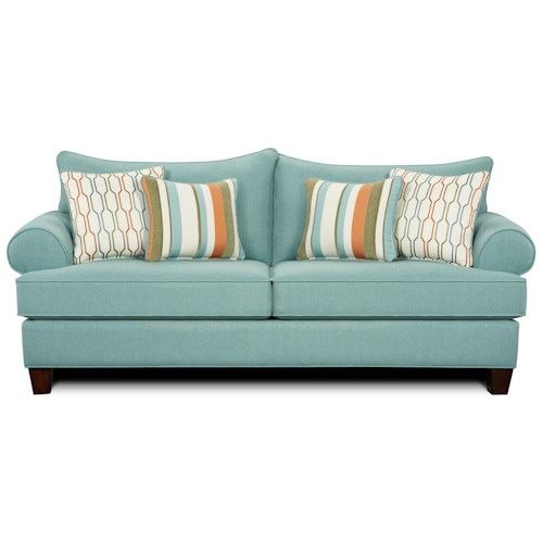 Fusion Furniture 9210 Casual Two Cushion Sofa Sleeper