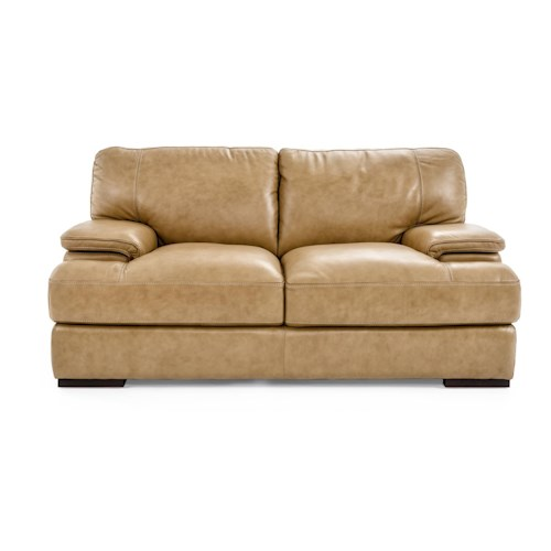 Futura Leather 10027 Casual Loveseat with Block Feet