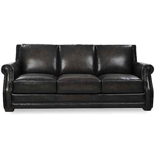 Futura Leather 10030 Traditional Sofa with Nailhead Trim