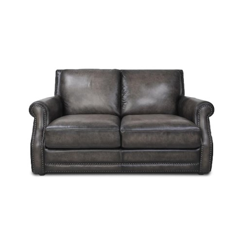 Futura Leather 10030 Fusion Charcoal Leather Loveseat