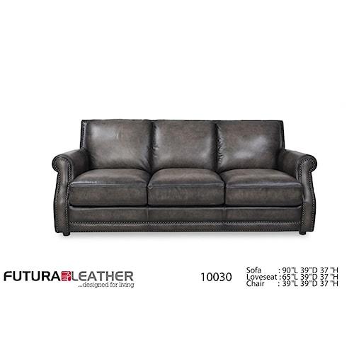 Futura Leather 10030 Fusion Charcoal Leather Sofa