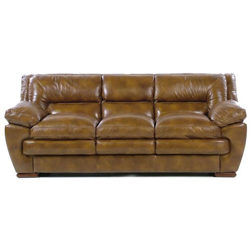 Loft Leather Carlos Contemporary Three Seater Sofa with Pillow Arms and Lumbar Support