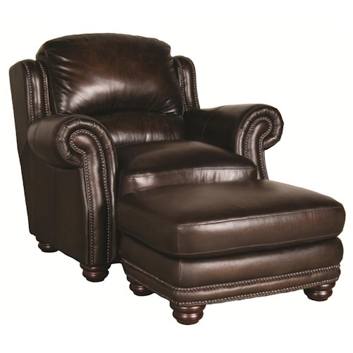Morris Home Furnishings Harrison 100% Leather Ottoman