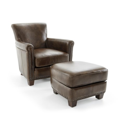 Futura Leather 6307 Casual Chair and Storage Ottoman with Nailheads