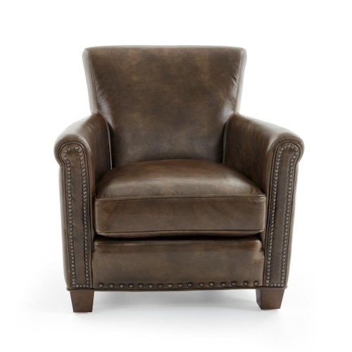 Futura Leather 6307 Casual Chair with Rolled Arms and Nailheads