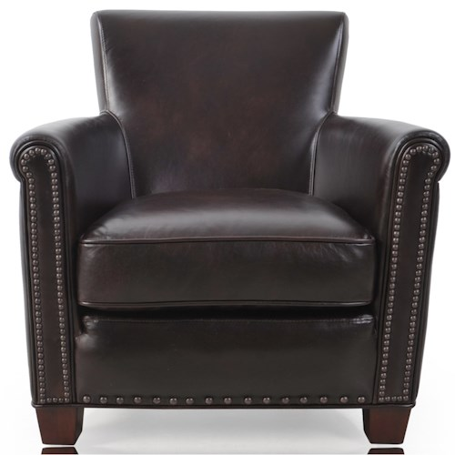 Futura Leather 6307 Transitional Chair with Nailhead Trim