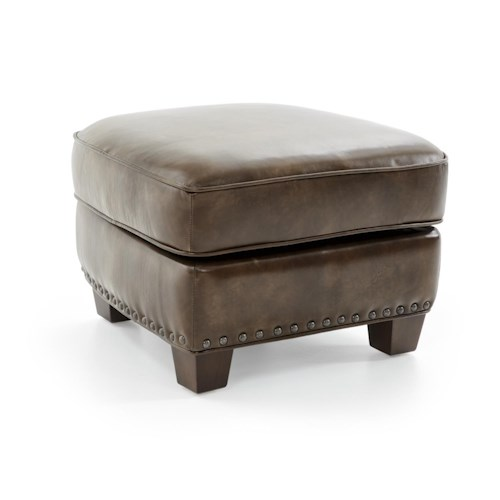 Futura Leather 6307 Casual Storage Ottoman with Nailheads