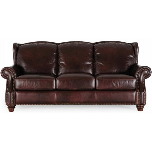 Futura Leather 7031 Traditional Rich Brown Sofa with Nailhead Trim