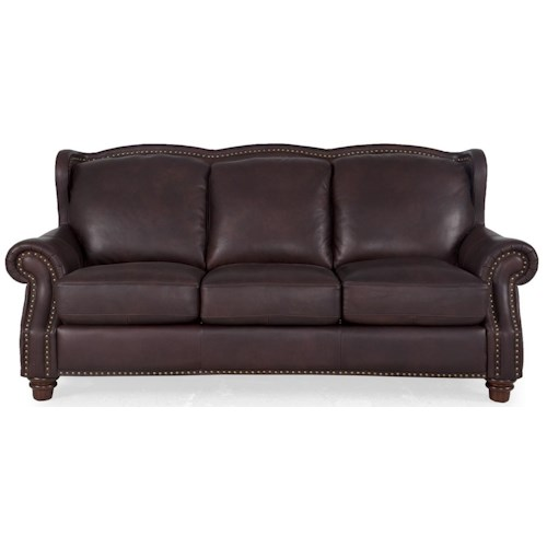 Futura Leather 7031 Traditional Rich Brown Sofa With