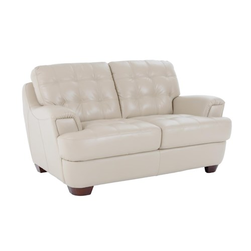 Futura Leather 7182 Loveseat with Flared Tapered Arms