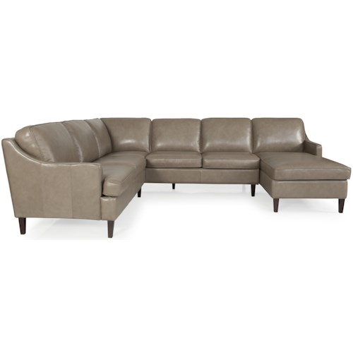 Dante Leather 8658 Sectional Sofa Group with Welt Cord Trim and Exposed Wooden Legs