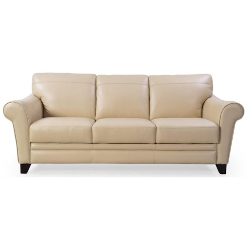 Futura Leather 8817 Leather Sofa with Rolled Arms
