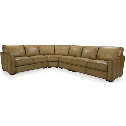 Futura Leather 8944 Transitional Sectional with Flared Arms