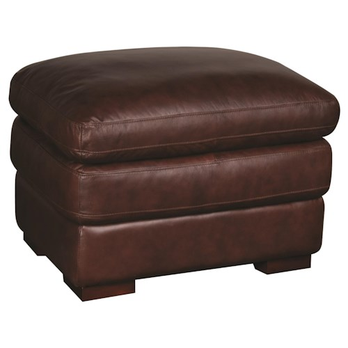 Morris Home Furnishings Austin 100% Leather Ottoman