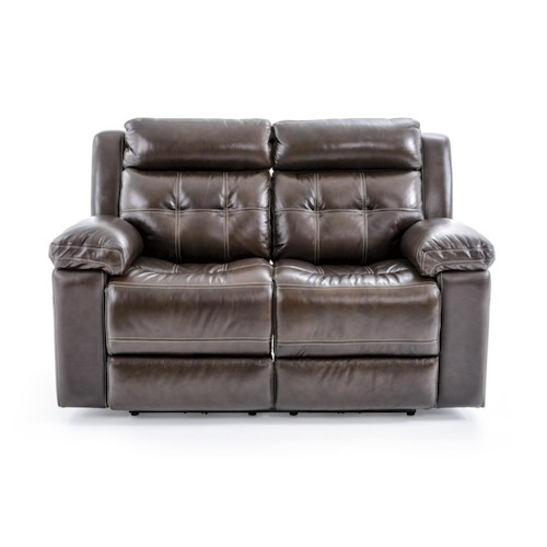 Futura Leather E1267 Casual Electric Motion Loveseat with Tufted Seat Back
