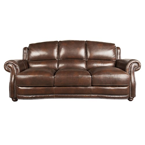 Morris Home Furnishings Harrison 100% Leather Sofa