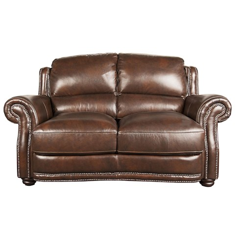 Morris Home Furnishings Harrison 100% Leather Loveseat