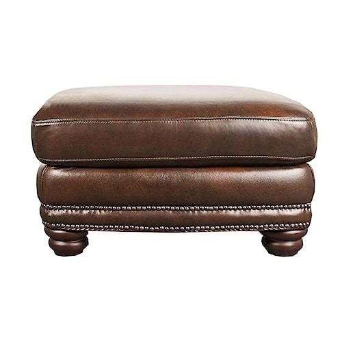 Morris Home Furnishings Harrison 100% Leather Ottoman