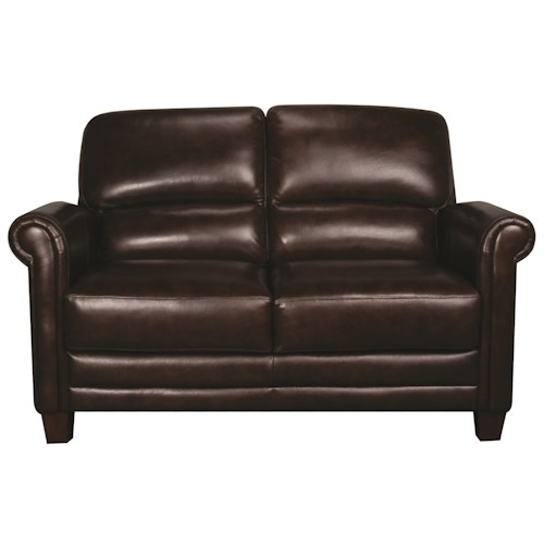 Morris Home Furnishings Victor 100% Leather Loveseat