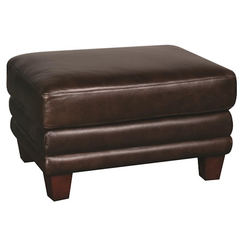 Morris Home Furnishings Victor 100% Leather Ottoman
