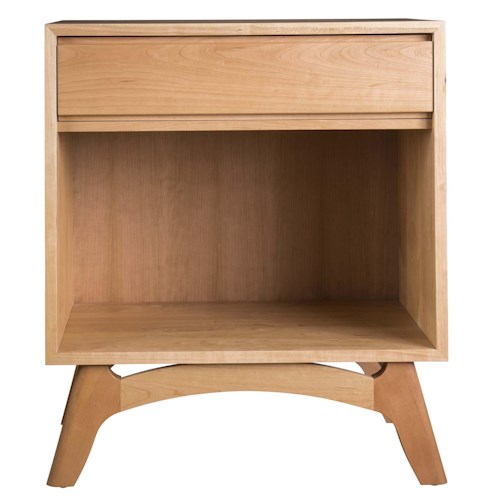 Greenbrier Mitre Single Drawer Side Chest with Shelf