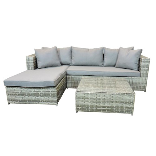 Belfort Essentials Outdoor Palmetto Outdoor Sectional and Ottoman