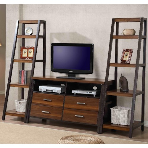 Whalen Waco Two-Toned Entertainment Wall Unit with 4 Drawers and 10 Shelves