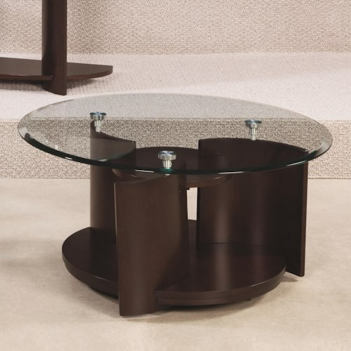 Morris Home Furnishings Apex Glass Top Round Cocktail Table