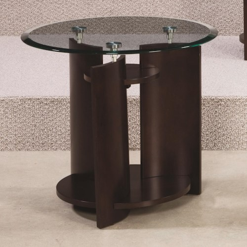 Hammary Apex  Glass Top Round End Table