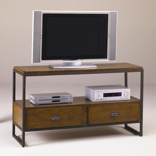 Morris Home Furnishings Chagrin Blvd Entertainment Console with Distressed Woodwork and Metal Frame