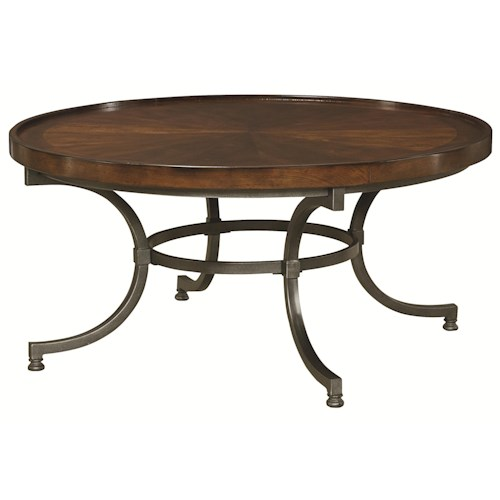 Hammary Barrow Round Cocktail Table with Metal Legs