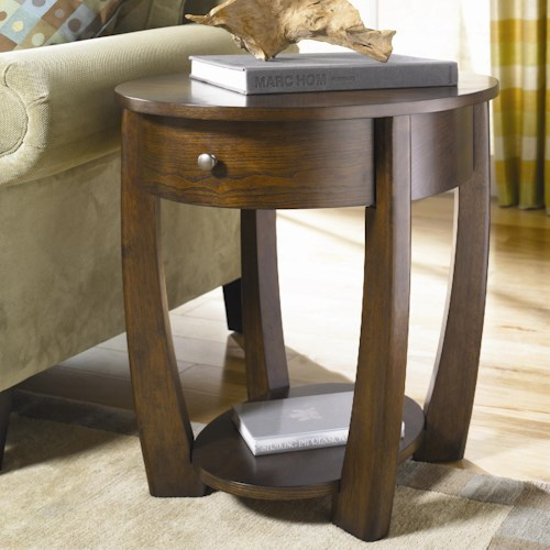 Hammary Concierge Oval Drawer End Table