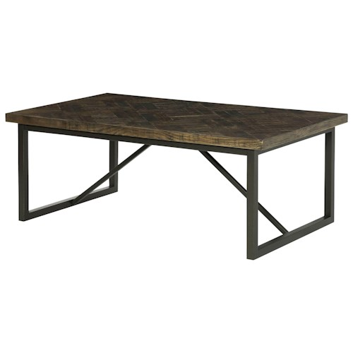 Hammary District Rectangular Cocktail Table with Metal Stretcher Accents