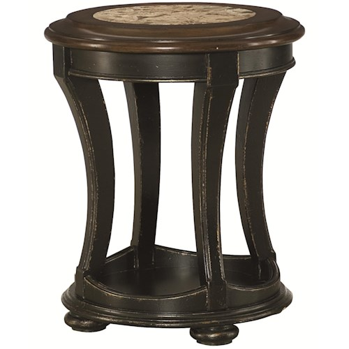 Morris Home Furnishings Dorset Round End Table with Top Stone Inlay