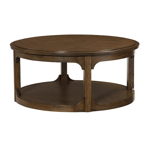 Morris Home Furnishings Facet Round Cocktail Table with 1 Lower Shelf