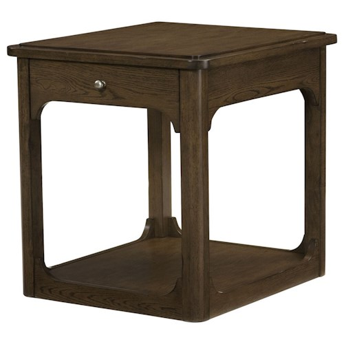 Morris Home Furnishings Facet Rectangular Drawer End Table with Base Shelf