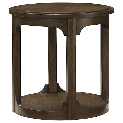 Morris Home Furnishings Facet Round End Table with Base Shelf