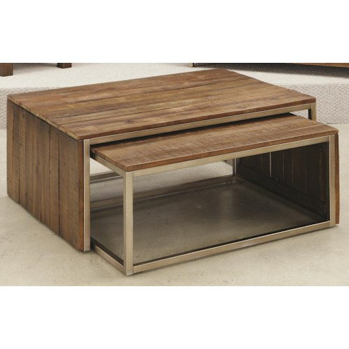Hammary Flashback Rectangular Nesting Cocktail Table with Metal Legs and Trim