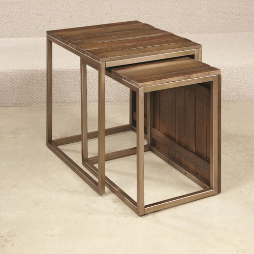 Hammary Flashback Nesting End Table with Metal Trim and Legs