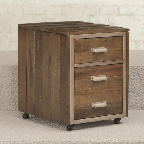 Hammary Flashback 2 Drawer Mobile File Cabinet with Metal Trim and Casters