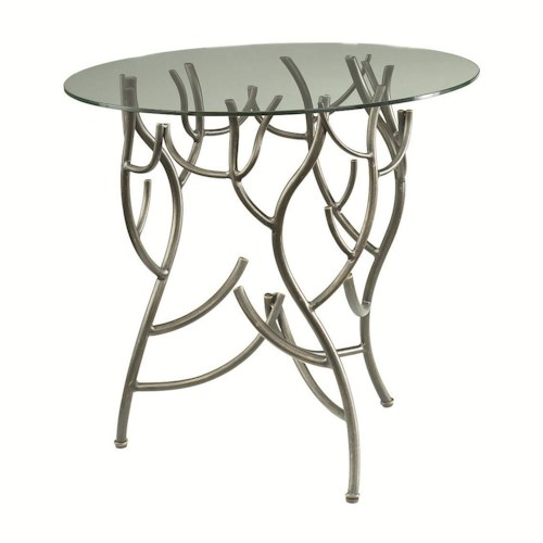 Morris Home Furnishings Hidden Treasures Glass Top Twig Accent Table