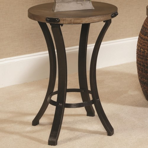 Hammary Hidden Treasures Metal Base Round Accent Table