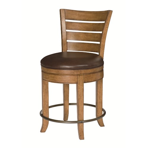 Hammary Hidden Treasures Pub Stool with Leather Seat Cushion