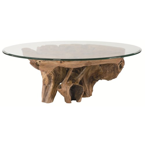 Morris Home Furnishings Hidden Treasures Root Ball Cocktail Table with Glass Top