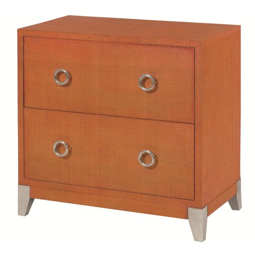 Hammary Hidden Treasures Orange Accent Chest with 2 Drawers and Aluminum Legs